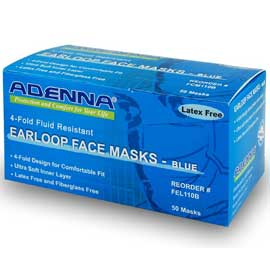 Adenna Earloop Face Mask, Blue 50/Box. Fluid Resi
