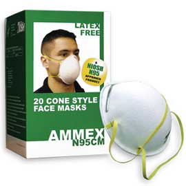 Ammex N95CM N95 Cone Style Respirator Mask - Whit