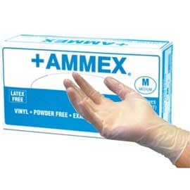 Ammex Vinyl Exam Gloves: X-LARGE, non-sterile, po