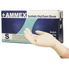 Ammex Stretch Vinyl Exam Gloves: X-Large, powder-free, smooth, beaded
