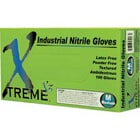 Xtreme X3 Nitrile industrial gloves, LARGE, powder-free, textured, beaded cuff