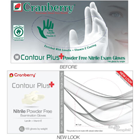 Contour Plus Nitrile Exam gloves: SMALL 100/Bx. Powder-Free, with Lanolin