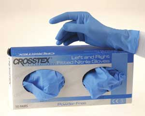 Left & Right Fitted Nitrile Exam gloves: Left/Rig