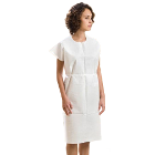 "Graham Exam Gown - Glued Shoulders, 30"" x 42"", White Color, 50/Cs, Knee-length"