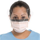 FluidShield Level 3 Fluid Resistant Mask with Shield, Blue 25/Bx. Pleat-Style