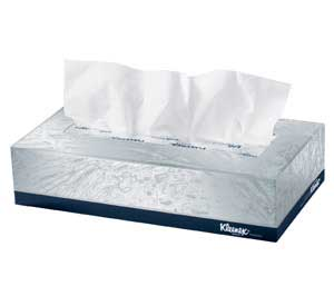 "Kleenex White 2 ply Facial Tissues 9"" x 8"", Flat"