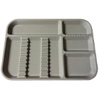 "Plasdent Set-up Tray Divided Size B (Ritter) - Gray, Plastic, 13-1/2"" X 9-5/8"""