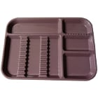 "Plasdent Set-up Tray Divided Size B (Ritter) - Mauve, Plastic, 13-1/2"" X 9-5/8"""